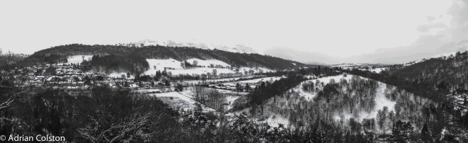 Long Mynd Hotel view b&w pan