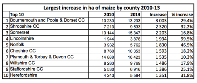 Maize - largest increase