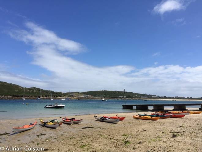 Sea kayaks on Bryher
